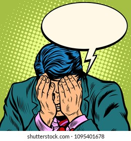 Man businessman asks for forgiveness. Pop art retro vector illustration cartoon comics kitsch drawing