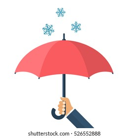 Man businessman holding umbrella in hand defending from the snow. Winter snow cold weather. Vector illustration flat design. Isolated on white background. Falling snowflakes.