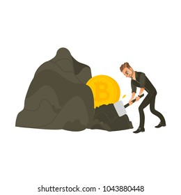 Man, businessman mining bitcoin, golden BTC coins from rock, hard working, flat cartoon vector illustration isolated on white background. Bitcoin concept with businessman mining gold from rock