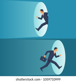 Man businessman runs through the portal. Fantasy teleport. Vector illustration flat design. Isolated on white background.