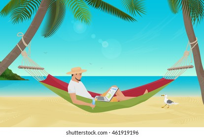 Man businessman sitting in hammock on the sea beach and working with his laptop computer. Best place for work