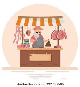 man butcher offering fresh meat at pork chop store. Vector flat cartoon illustration