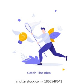 Man with butterfly net catching flying winged lightbulb. Concept of chasing or pursuing innovative business idea, creative thinking, brainstorm. Modern flat vector illustration for banner, poster.
