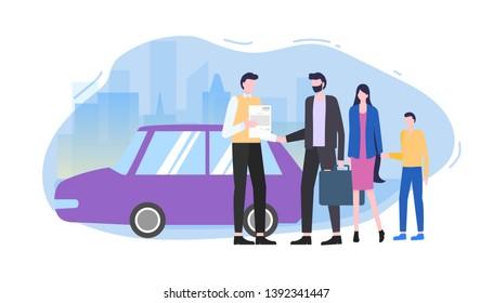 Man Buy Car Automobile Seller Make Contract Vector Illustration. Family Rent Auto Salesman Woman Boy Family Travel Tourism journey Business Rental Service Credit Loan Rental Agreement