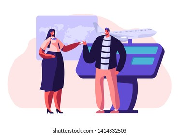 Man Buying Airplane Ticket at Travel Agency Promotional Stand, Talking to Woman Consultant or Promoter, Advertising Service, Trade Fair, Expo Exhibition Visiting. Cartoon Flat Vector Illustration