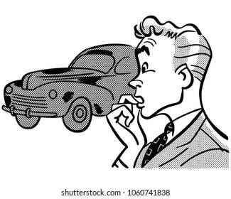 Man Buying Car - Retro Clip Art Illustration