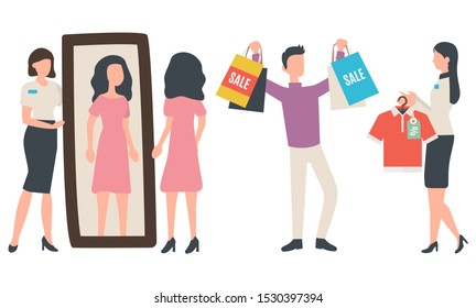 Man buying clothes, women trying dress near mirror. Sale old collection, people clothing, seller holding hanger with t-shirt with discount tag vector. Black friday sale