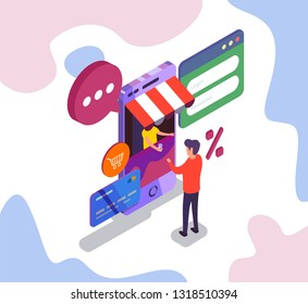 Man buying cup of coffee in phone shop. Internet shopping. Isometric illustration.
