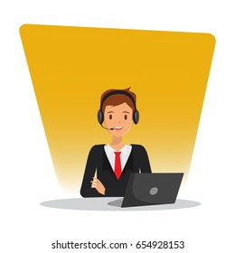 Man in call center occupation. Customer service character. Illustration vector of people.
