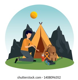 man with camp and backpack in the nature mountains