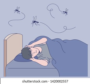 A man can not sleep with a loud mosquito noise. hand drawn style vector design illustrations.