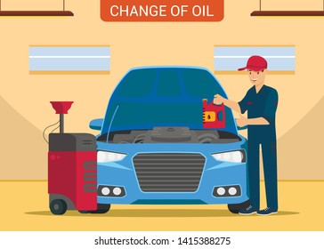 Man with Canister in Hand. Changes Oil in Service Station. Service Station. Auto Service. Open Hood. Car Parts. Worker with Oil Canister in Hand. Car Mechanic in Service Station. Vector Illustration.