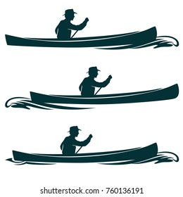 man in canoe boat side view vector design set