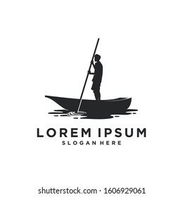 Man canoeing with Canoe on the lake logo inspiration. Landscape / Outdoor design. Vector illustration concept