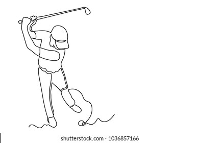 A man in a cap plays golf. Swings a stick at the ball. One continuous drawing line drawn by hand on a white background.