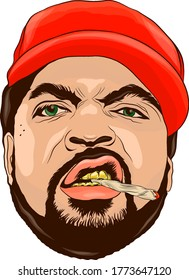 a man in a cap Smoking marijuana vector color illustration