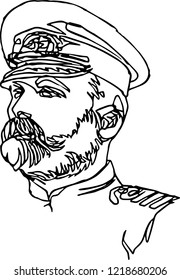 A man in a cap uniform. Minimalistic illustration of one continuous line, portrait of a ship captain.