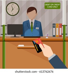 Man with the card standing at the credit card payment window. Vector illustration.