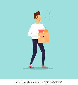 Man carries a box of things. Business characters. Dismissal. Office life. Flat design vector illustration.
