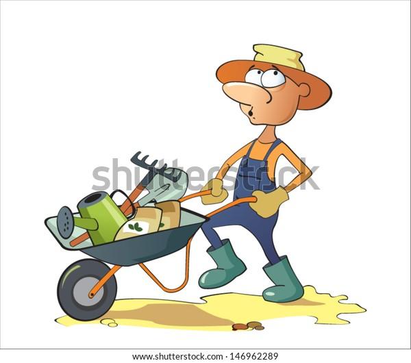 Cartoon Of Man Pushing A Wheelbarrow Stock Vector - Illustration of work,  nature: 19284243