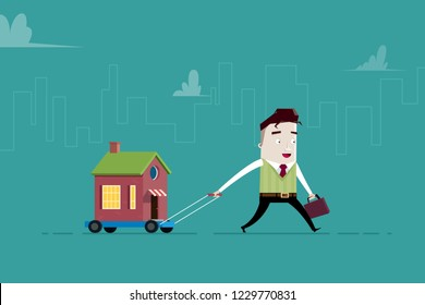 Man carries a house on a trolley: changed address