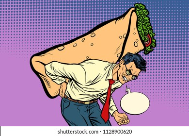 man carries Shawarma Doner kebab. Pop art retro vector illustration vintage kitsch drawing