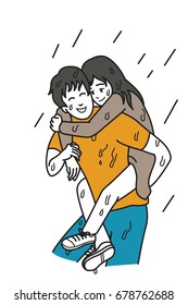 Man carry his girlfriend on his back among rainy day, cartoon illustration of relationship concept in always supporting and helping in any bad day or situation. Outline hand draw sketching design.