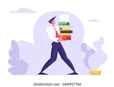 Man Carry Huge Steak of Documents Folders . Businessman, Office Employee Character Overload at Work, Very Busy Day, Accounting Bureaucracy, Manager at Workplace. Cartoon Flat Vector Illustration