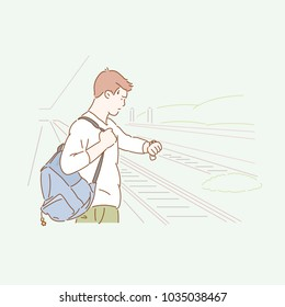 A man carrying a backpack is waiting for the train on the platform. hand drawn style vector doodle design illustrations.
