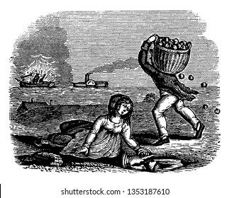 A man carrying basket of fruits, fruits falling from basket on ground, woman sitting on ground, vintage line drawing or engraving illustration