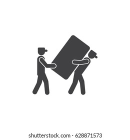 Man carrying Box Icon on the white background