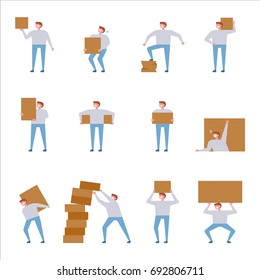Man carrying box vector illustration flat design