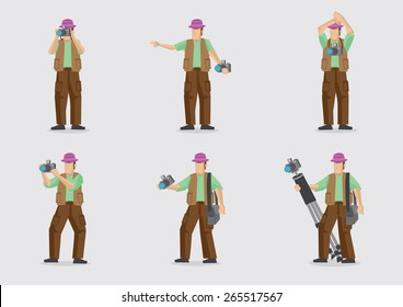 Man carrying camera and other photography equipment in different gestures. Vector cartoon character illustration isolated on plain background.