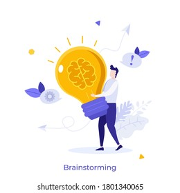 Man carrying glowing lightbulb with brain inside. Concept of brainstorming, power of intelligence, creative thinking, innovative idea generation. Modern flat colorful vector illustration for banner.