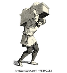 "A man carrying a heavy box - vintage engraved illustration - ""Costumes anciens et modernes "" by Cesare Veccello ed.Firmin-Didot  in 1859 - Paris"