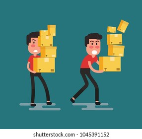 Man carrying large stack of boxes