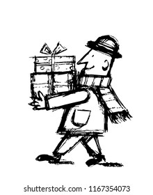 Man carrying presents black and white
