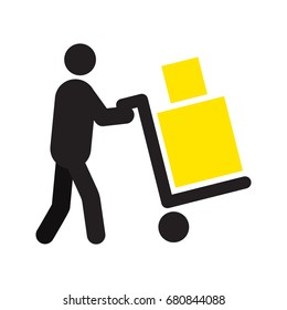 Man carrying two boxes with hand truck silhouette. Hand cart. Delivery service. Shipment. Parcel. Removals. Baggage. Isolated vector illustration. Deliveryman, courier