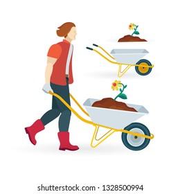 Man carrying wheelbarrow with compost and flower. Wheelbarrow vector illustrations set. Male gardener and pushcart.