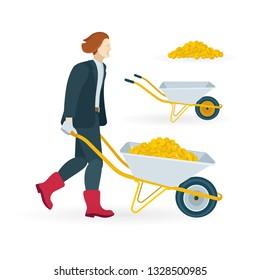 Man carrying wheelbarrow with golden coins.  Wheelbarrow vector illustrations set. Male and pushcart with treasure. Wheelbarrow full of money.