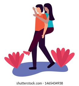 man carrying woman - couple romantic love flat design vector illustration