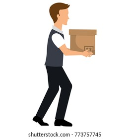 man with carton box packing icon