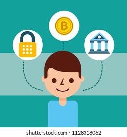 man cartoon avatar bank bitcoin cyber security