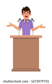 man cartoon character speaker stands behind the podium and speaks.  Flat style cartoon character for your design, motion or animation