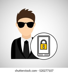 man cartoon smartphone digital technology security vector illustration eps 10