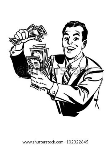 Man Cash Retro Clipart Illustration Stock Vector Royalty Free