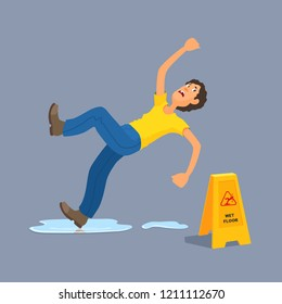 Man in casual clothes slipped on wet floor, puddle, falls, waving his hands, looks down at the yellow plastic warning sign. Dangerous situation. Vector flat style illustration on gray background.