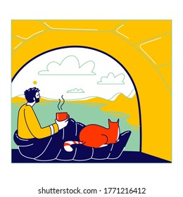 Man and Cat Characters Sitting inside of Camping Tent Enjoying Drinking Coffee and Scenic Landscape View. Tourist Travel with Pet, Hiking, Outdoor Relax, Summer Recreation. Linear Vector Illustration