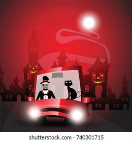 Man and cat on car in halloween night party vector for October holiday background illustration eps 10