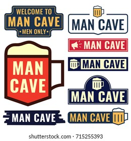 Man cave. Badges, icons, signboards set. Flat vector illustrations on white background. Business concept.